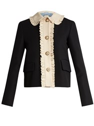 Gucci Ruffled Wool And Silk Blend Crepe Jacket Black Multi