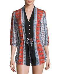 Dance And Marvel Mosaic Print Button Front Romper Multi Pattern