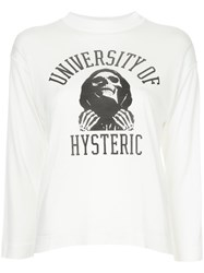 Hysteric Glamour 3 4 Sleeve University Of Hys T Shirt White