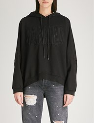 7 For All Mankind Logo Embroidered Cotton Jersey Hoody Meteorite