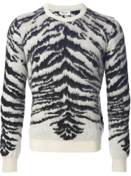 Saint Laurent Zebra Patterned Sweater Black