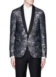 Lanvin Splash Lurex Jacquard Wool Blazer Metallic Grey