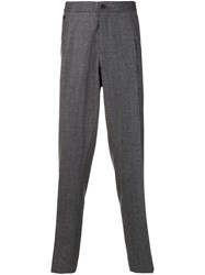 Salvatore Ferragamo Straight Flannel Trousers Grey