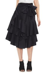 Vince Camuto Tiered Ruffle Belted Poplin Skirt Rich Black