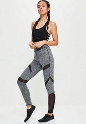 Missguided Active Grey Mesh Panel Full Length Sports Leggings