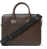 Dunhill Cadogan Cross Grain Leather Briefcase Brown