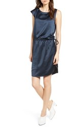 Trouve Asymmetrical Ruched Dress Navy Sapphire