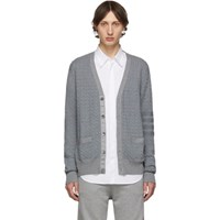 Thom Browne Grey Baby Cable Knit V Neck Cardigan