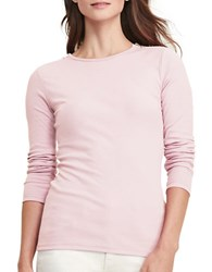 Lauren Ralph Lauren Zip Shoulder Cotton Tee Pale Rose