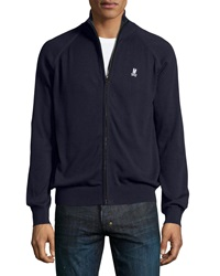 Psycho Bunny Knit Zip Front Sweater Navy