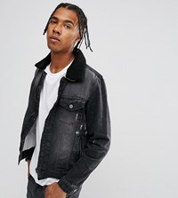 Brooklyn Supply Co. Co Washed Black Borg Denim Jacket Bk1 Black 1