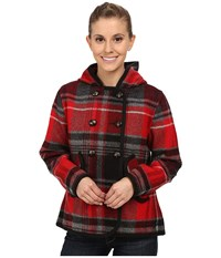 Woolrich Century Wool Plaid Peacoat Old Red Plaid Women's Coat Black