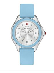 Michele Cape Blue Topaz Stainless Steel And Silicone Strap Watch Light Blue