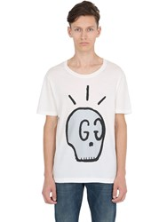 Gucci Skull Printed Cotton Jersey T Shirt