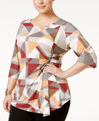 Alfani Plus Size Printed Faux Wrap Top Only At Macy's Modern Graphic