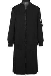 Mcq By Alexander Mcqueen Pleated Stretch Wool Coat Black