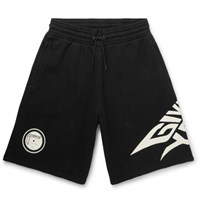 Givenchy Glow In The Dark Logo Print Loopback Cotton Jersey Shorts Black