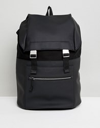 Kiomi Leather And Canvas Backpack In Black