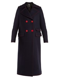 Msgm Double Breasted Contrast Stitch Wool Blend Coat Navy