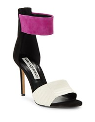 Karl Lagerfeld Laken Suede And Leather Stiletto Heels Pink Off White