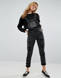 Liquor And Poker Relaxed Fit Studded Dungaree Washed Black