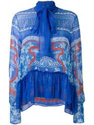 Mary Katrantzou Sheer Pussybow Blouse Women Silk 12 Blue