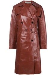 Nina Ricci Double Breasted Leather Coat Red