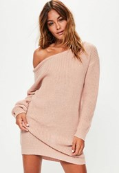 Missguided Nude Off Shoulder Knit Sweater Dress