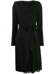Federica Tosi Long Sleeve Belted Dress Black