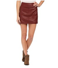 Free People Zip To It Vegan Leather Mini Skirt Burgundy Women's Skirt