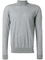 Versace Turtleneck Slim Fit Jumper Wool Grey
