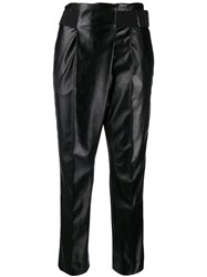 Dorothee Schumacher Faux Leather Belted Trousers Black