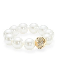 Catherine Stein Faux Pearl And Pave Ball Stretch Bracelet White