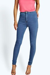 Boohoo High Waisted Skinny Jeans Pale Blue