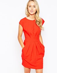 Closet Pleat Front Dress With Tie Back Red