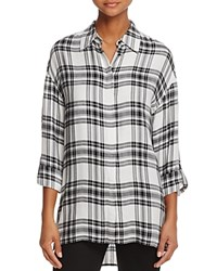 Alice Olivia Mellie Oversized Roll Cuff Plaid Shirt White Black