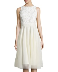 Alexia Admor Lacer Cut Sleeveless Fit And Flare Dress Off White