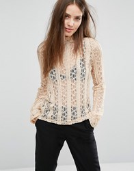 Vero Moda Lace Long Sleeve High Neck Top Ivory White