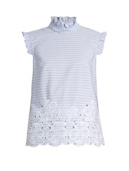 Erdem Mika Broderie Anglaise Cotton Top Blue Stripe