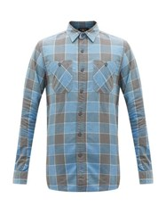 Rrl Farrell Checked Brushed Cotton Shirt Blue Multi