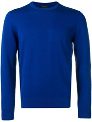 Emporio Armani Embroidered Logo Knitted Jumper Blue