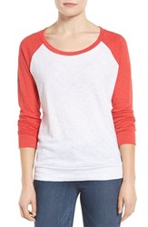 Caslonr Women's Caslon Lightweight Colorblock Cotton Tee White Red Saucy Colorblock