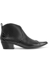 Tomas Maier Laser Cut And Patent Leather Ankle Boots Black