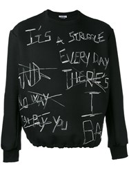 Selfmade By Gianfranco Villegas Embroidered Sweatshirt Men Viscose Wool 46 Black