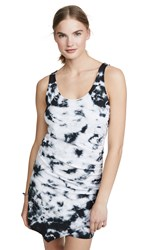 Goldie Ruched Tie Dye Dress Black
