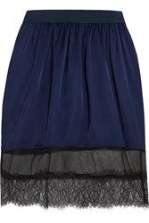 Clu Chiffon And Lace Trimmed Satin Skirt Blue