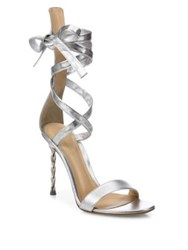 Gianvito Rossi Folie Metallic Leather Ankle Wrap Sandals Silver