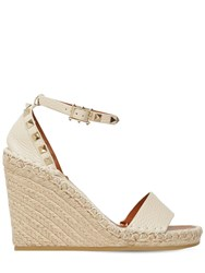 Valentino 105Mm Rockstud Double Leather Espadrille Light Ivory