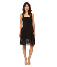 Aidan Mattox Stretch Tank Dress With Beaded Illusion Hem Detail Black Women's Dress