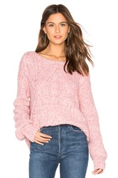 525 America Mix Stitch Cable Pullover Pink